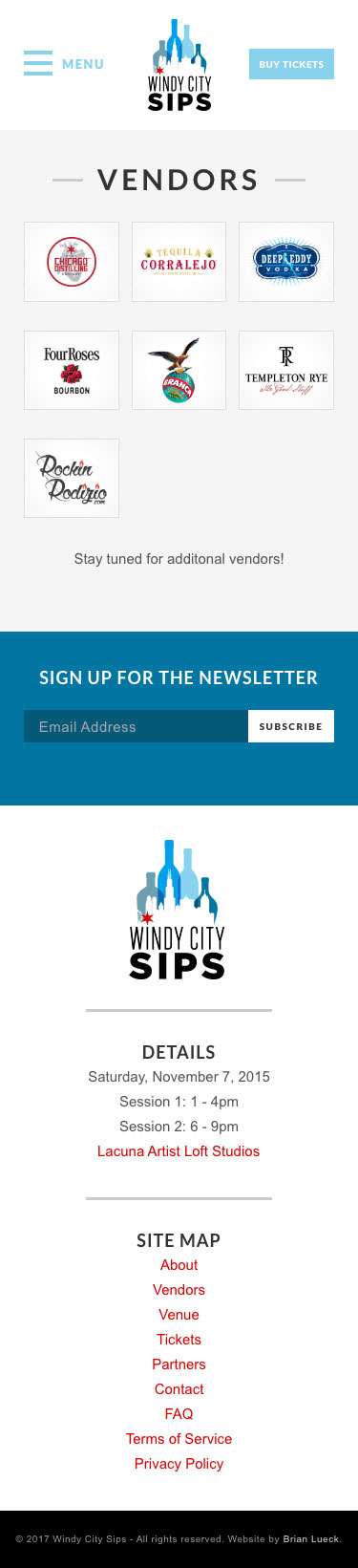 Windy City Sips - Vendors Page - iPhone View
