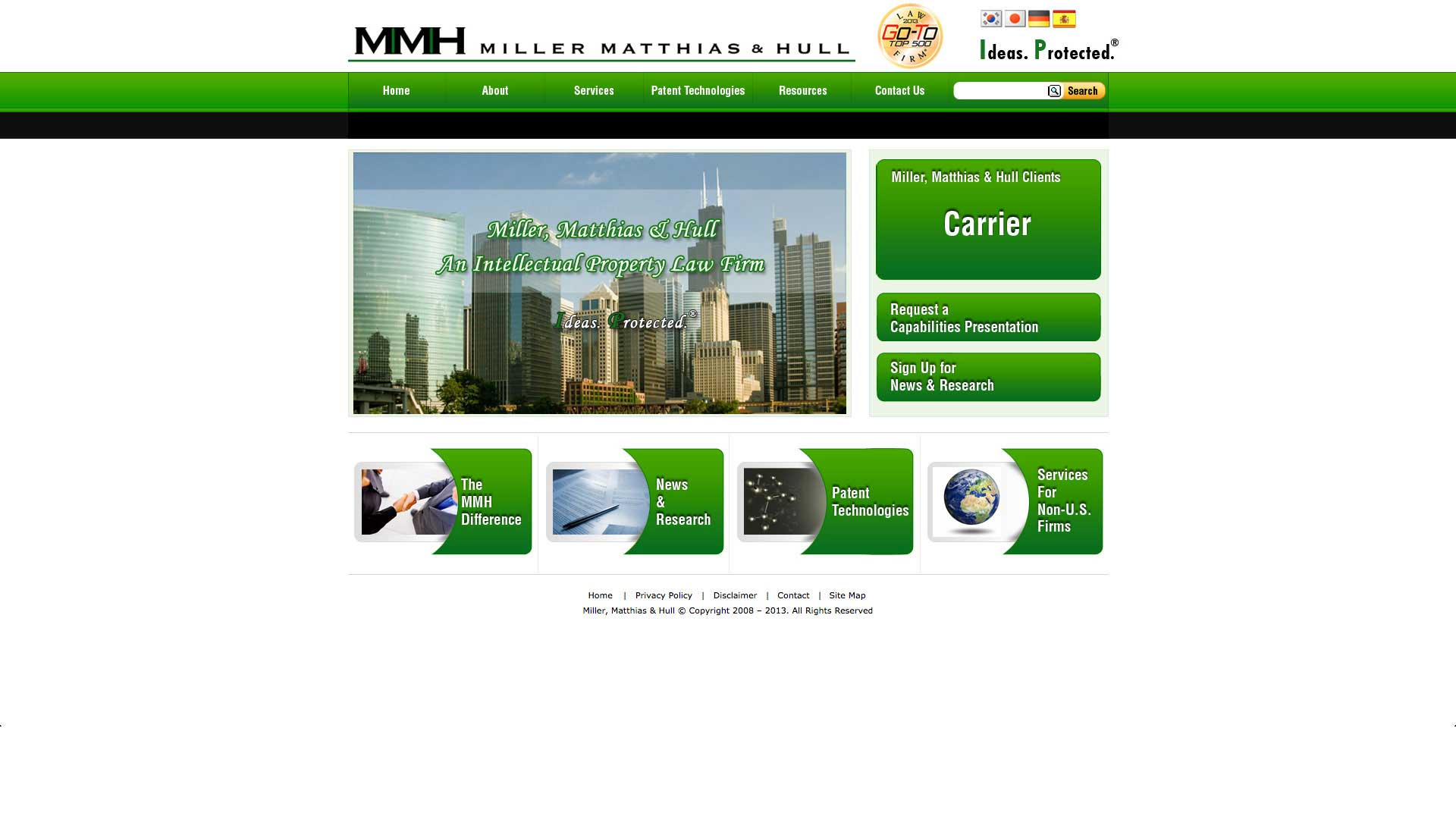 Miller Matthias & Hull - Original Website - Browser View