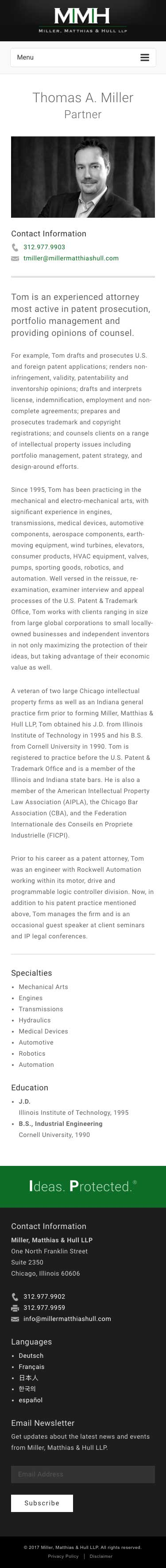 Miller Matthias & Hull - Profile Page - iPhone View