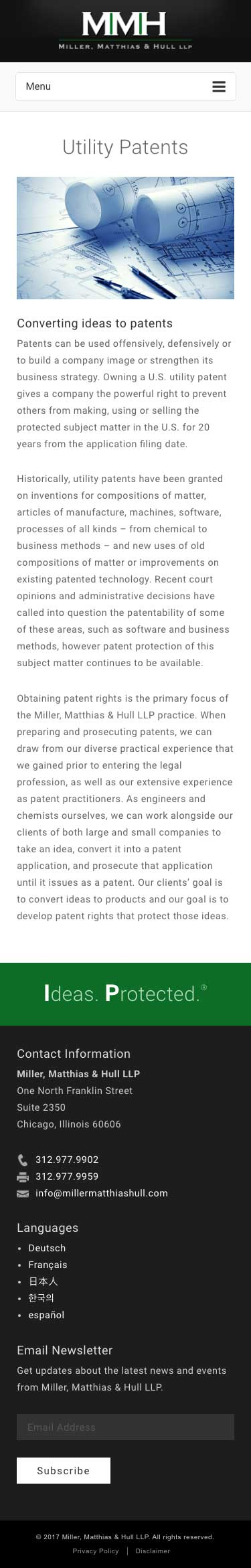 Miller Matthias & Hull - Utility Patents - iPhone View