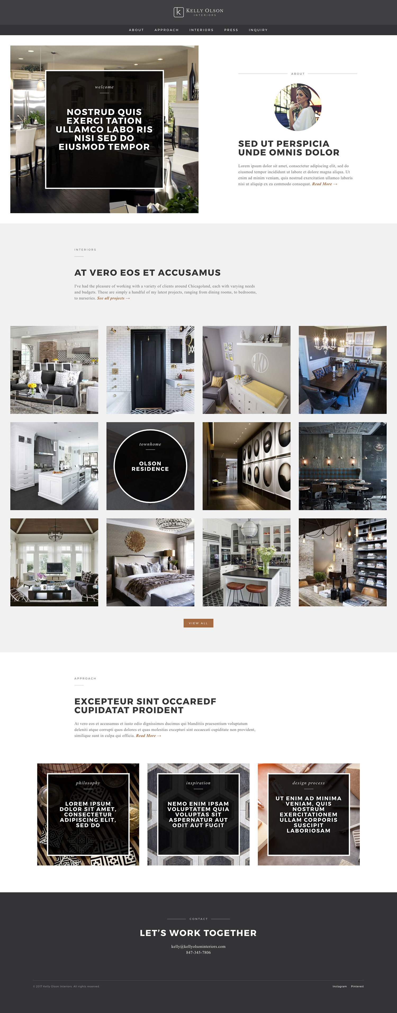 Kelly Olson Interiors - Homepage - Browser View
