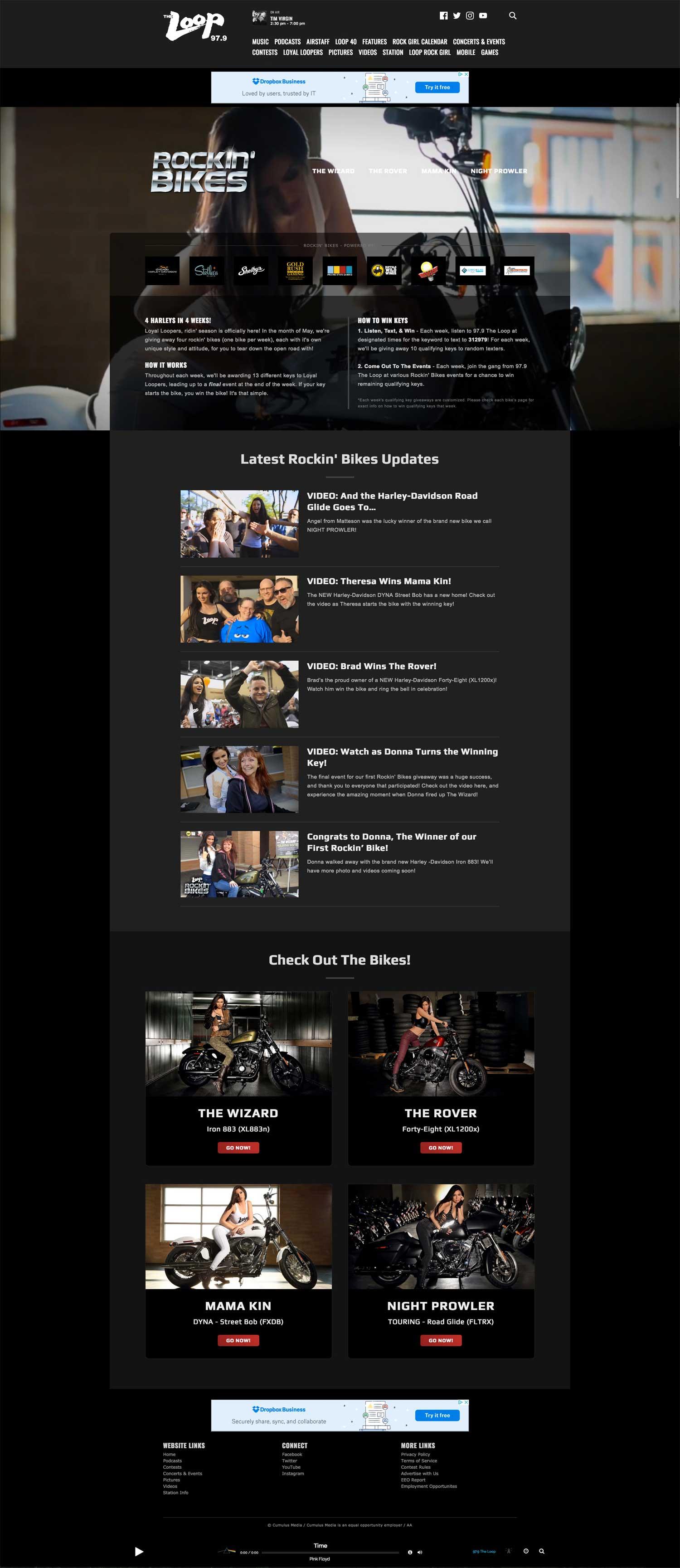 Rockin' Bikes - Main Landing Page - Browser View