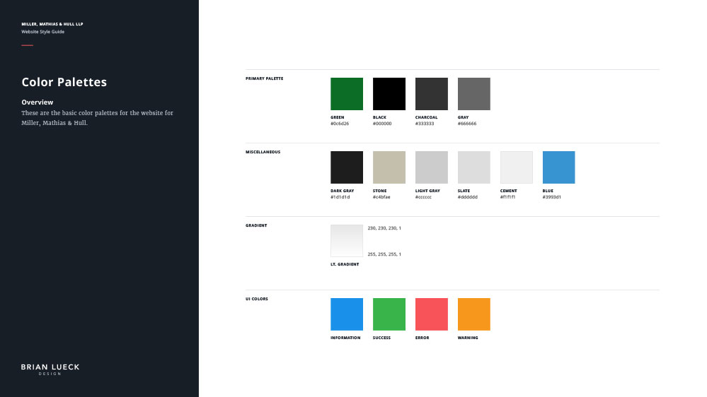 Miller, Matthias & Hull - Website Style Guide - Color