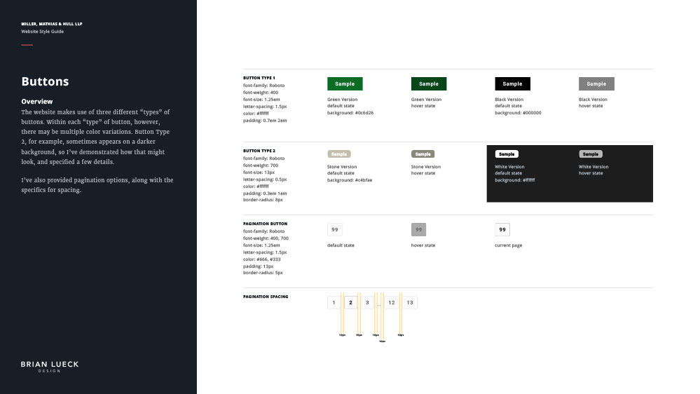Miller, Matthias & Hull - Website Style Guide - Buttons